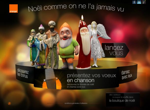 Site Orange pour Noël avec l'opération de chanson