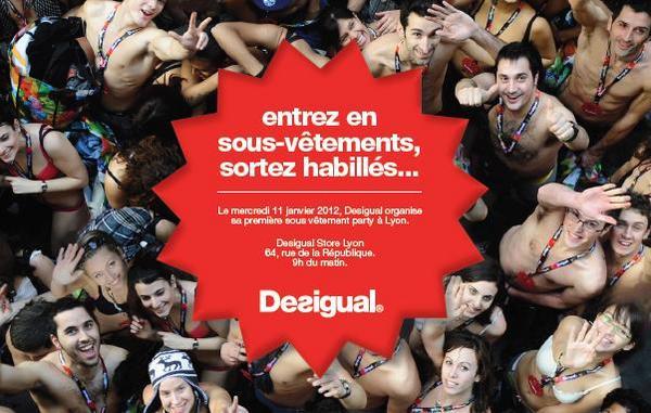 """Flyer de promotion de l'évènement """"Entrez en sous vêtements, sortez habillés"""" par Desigual"""