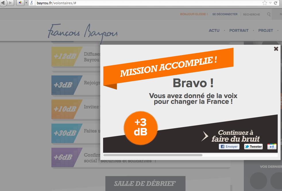 Capture d'écran du site bayrou.fr pour les présidentielles 2012