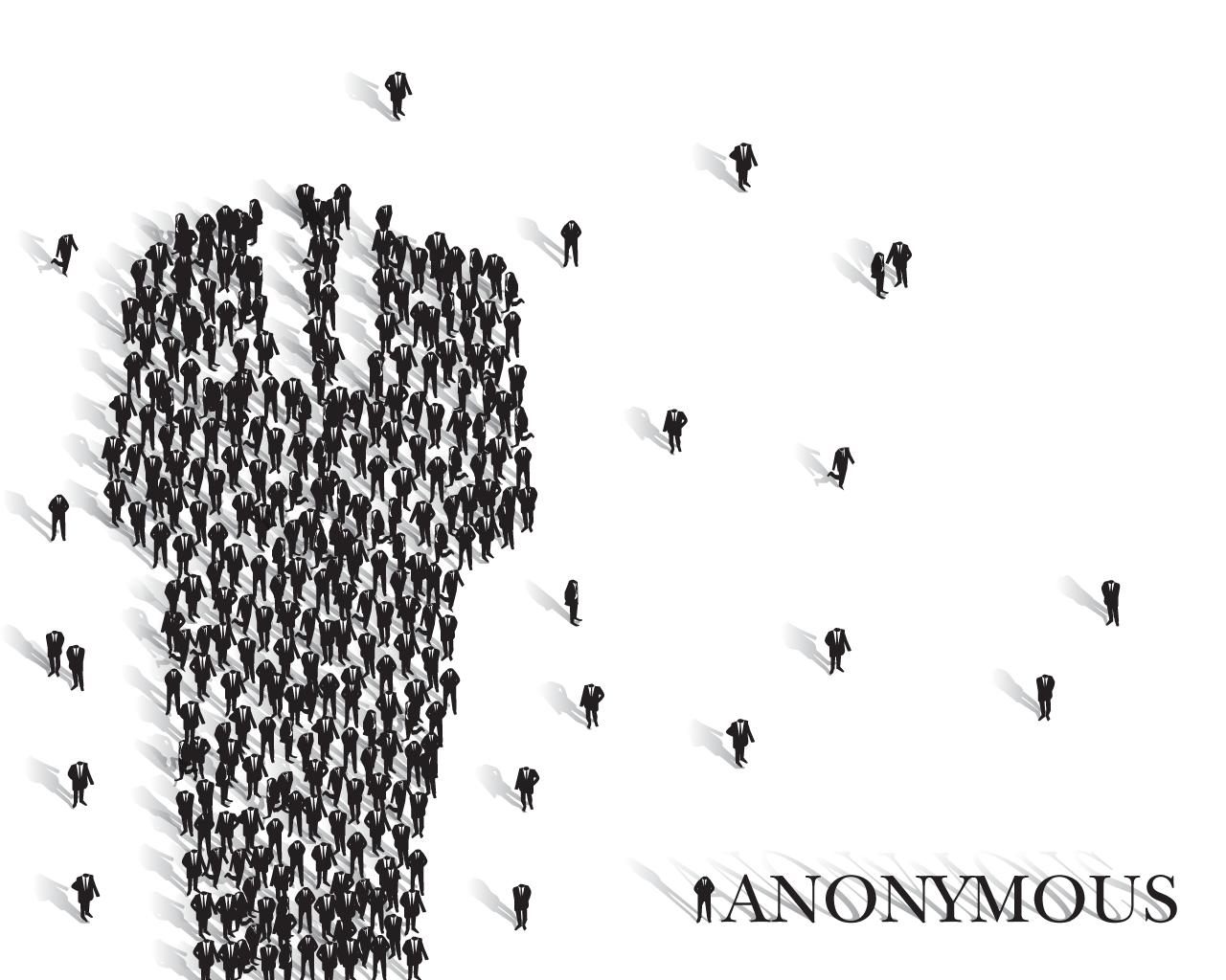 Personnages formant le personnage du logo anonymous