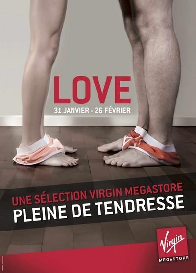 Affiche Virgin pour l'opération Love - Saint Valentin 2012