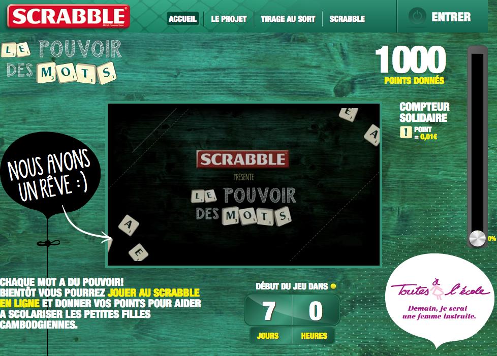 Capture d'écran du site Scrabble pour l'opération Le pouvoir des mots avec Toutes à l'école