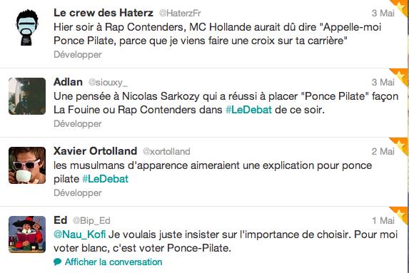 Tweet sur Ponce Pilate et le débat Sarkozy Hollande 2012