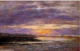 Eugène Boudin, Deauville, coucher de soleil sur la plage